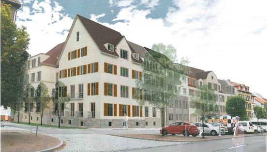 Planungsunterlagen zum Neubau von 38 barrierefreien und energieeffizienten Wohnungen in Eisenach (im Bild zu sehen ist die Computervisualisierung des Entwurfs.)