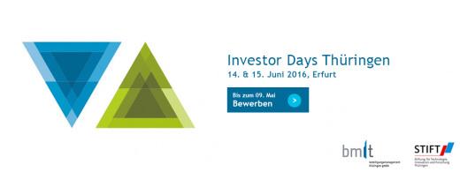 Investor Days 2016 - noch bis zum 09. Mai 2016 bewerben!