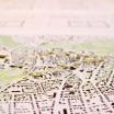 Stadtplan von Weimar mit Markierungen (Punkten und Verbindungen) von genutzten Räumen / Thema Wohnbedürfnisse:  Frage nach der Mitnutzung der Außenfläche ausgedehnt auf den gesamten Stadtraum