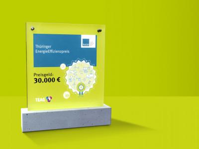 111Thüringer Energieeffizienzpreis (im Bild: Award für grünem Hintergrund)