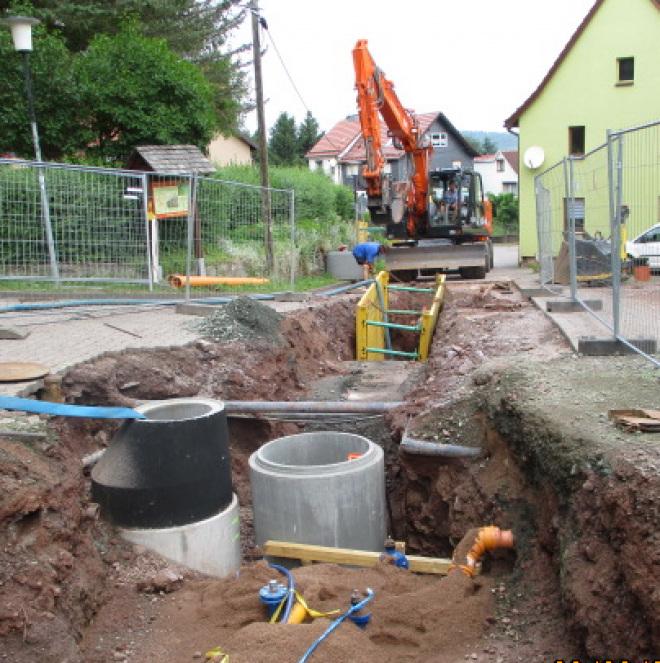 Förderung von Vorhaben der Abwasserentsorgung (im Bild: eine Baustelle mit Abwasserkanälen)
