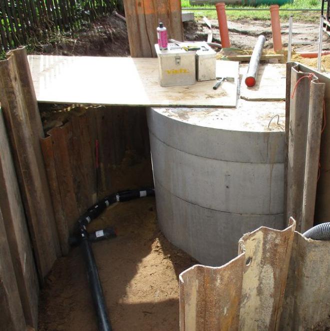 Förderung von ausgewählten Vorhaben der Abwasserentsorgung (im Bild: Baustelle mit Abwasserleitungen)
