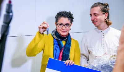 Schlüsselübergabe bei #3ZKDB (im Bild: Nathalie Millan und Marco Reusch)