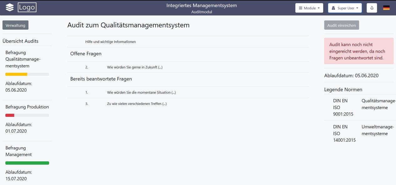 Screenshot Demonstrator zur Software für integrierte Managementsysteme