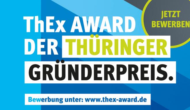 Startschuss für den ThEx AWARD – Der Thüringer Gründerpreis 2020 (Grafik mit Aufruf und zwei Personen)