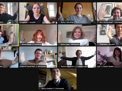111neudeli Fellowship: virtuelle Jurysitzung (im Bild: Screenshot vom virtuellen Meeting)