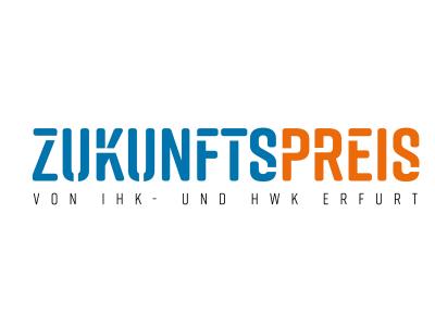 Zukunftspreis Thüringen (Logo: blaue Schrift und orange Schrift)